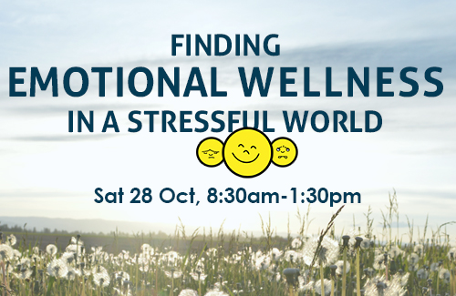 Finding EMOTIONAL WELLNESS in a stressful world: Saturday 28 Oct  (PE)